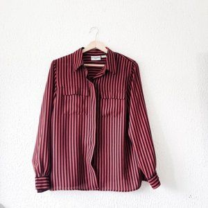 Vintage Red Black Striped Silky Button Dow…